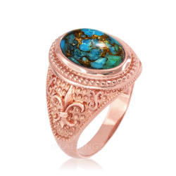 Rose Gold Blue Copper Turquoise Fleur-De-Lis Gemstone Ring