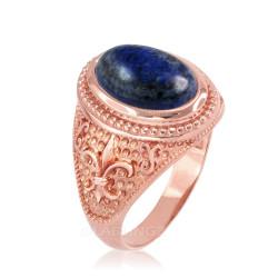 Rose Gold Lapis Lazuli Fleur-De-Lis Gemstone Ring