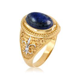 Two-Tone Yellow Gold Lapis Lazuli Fleur-De-Lis Gemstone Ring
