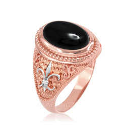 Two-Tone Rose Gold Black Onyx Fleur De Lis Gemstone Ring