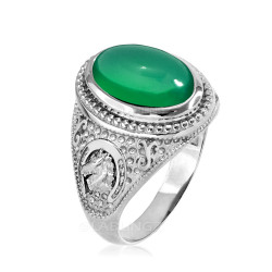 Sterling Silver Green Onyx Lucky Horse Shoe Gemstone Ring