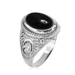 White Gold Black Onyx Lucky Horse Shoe Gemstone Ring