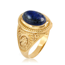 Yellow Gold Lapis Lazuli Lucky Horse Shoe Gemstone Ring