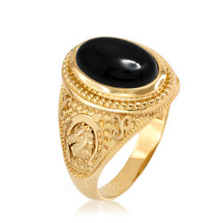 Yellow Gold Black Onyx Lucky Horse Shoe Gemstone Ring
