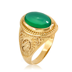 Yellow Gold Green Onyx Lucky Horse Shoe Gemstone Ring
