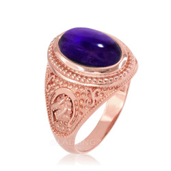 Rose Gold Purple Amethyst February Lucky Horse Shoe Birthstone Ring