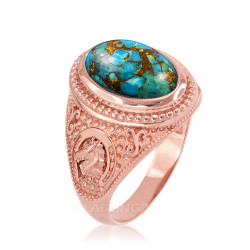 Rose Gold Blue Copper Turquoise  Lucky Horse Shoe Gemstone Ring
