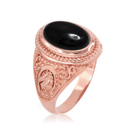 Rose Gold Black Onyx Lucky Horse Shoe Gemstone Ring