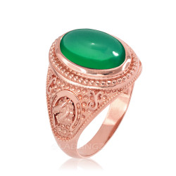 Rose Gold Green Onyx Lucky Horse Shoe Gemstone Ring