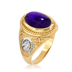 Two-Tone Yellow Gold Purple Amethyst February Lucky Horse Shoe Birthstone Ring