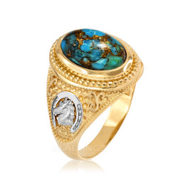 Two-Tone Yellow Gold Blue Copper Turquoise  Lucky Horse Shoe Gemstone Ring