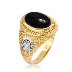 Two-Tone Yellow Gold Black Onyx Lucky Horse Shoe Gemstone Ring