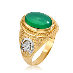 Two-Tone Yellow Gold Green Onyx Lucky Horse Shoe Gemstone Ring