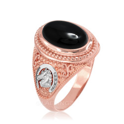 Two-Tone Rose Gold Black Onyx Lucky Horse Shoe Gemstone Ring