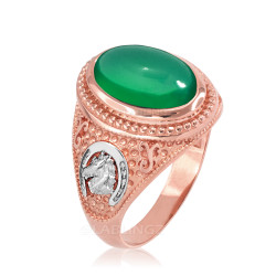 Two-Tone Rose Gold Green Onyx Lucky Horse Shoe Gemstone Ring