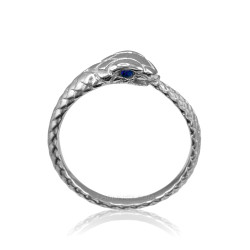 White Gold Ouroboros Snake Ladies Blue Sapphire Ring Band