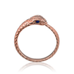 Rose Gold Ouroboros Snake Ladies Blue Sapphire Ring Band