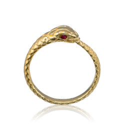 Gold Ouroboros Snake Ladies Ruby Ring Band