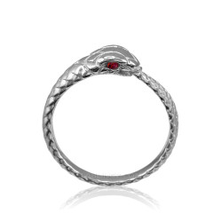 White Gold Ouroboros Snake Ladies Ruby Ring Band