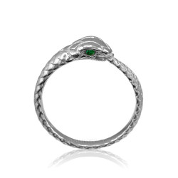 White Gold Ouroboros Snake Ladies Emerald Ring Band