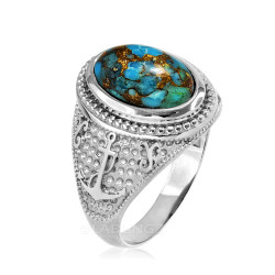 White Gold Marine Anchor Blue Copper Turquoise Gemstone Ring