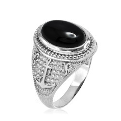 White Gold Marine Anchor Black Onyx Gemstone Ring