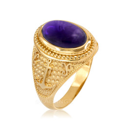 Yellow Gold Marine Anchor Purple Amethyst Birthstone Ring