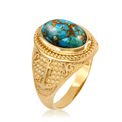 Yellow Gold Marine Anchor Blue Copper Turquoise Gemstone Ring