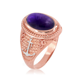 Two-Tone Rose Gold Marine Anchor Purple Amethyst Birthstone Ring