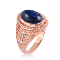 Two-Tone Rose Gold Marine Anchor Lapis Lazuli Gemstone Ring