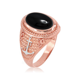 Two-Tone Rose Gold Marine Anchor Black Onyx Gemstone Ring