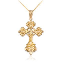 Gold Fleur-de-Lis Cross Pendant Necklace
