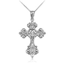 White Gold Fleur-de-Lis Cross Pendant Necklace