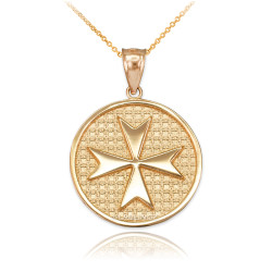 Gold Knights Templar Maltese Cross Medallion Pendant Necklace