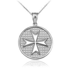White Gold Knights Templar Maltese Cross Medallion Pendant Necklace