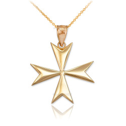 Polished Gold Maltese Cross Pendant Necklace