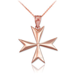 Polished Rose Gold Maltese Cross Pendant Necklace