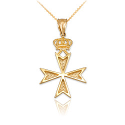 Yellow Gold Maltese Cross Crown Charm Necklace