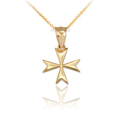 Gold Maltese Cross Charm Necklace