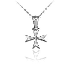 White Gold Maltese Cross Charm Necklace