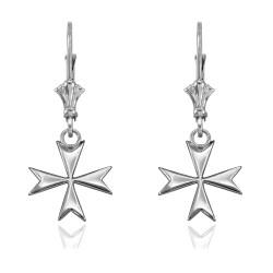 14K White Gold Maltese Cross Earrings
