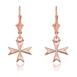 14K Rose Gold Maltese Cross Earrings