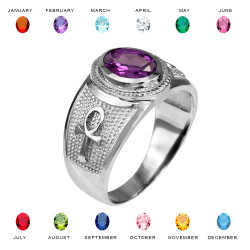 White Gold Egyptian Ankh Cross Birthstone CZ Ring