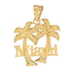 Yellow Gold Miami City Pendant Necklace