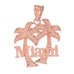 Rose Gold Miami City Pendant Necklace