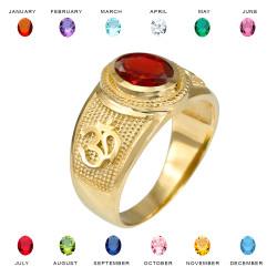 Gold OM CZ Birthstone Ring