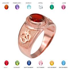 Rose Gold Om (Aum) Yoga Birthstone CZ Ring