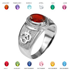 Sterling Silver Om (Aum) Yoga Birthstone CZ Ring