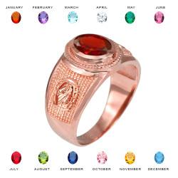 Rose Gold Lucky Horseshoe Birthstone CZ Ring