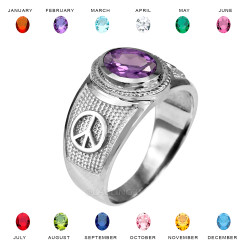 White Gold Peace Sign Band CZ Birthstone Ring
